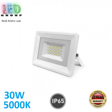 Светодиодный LED прожектор, 30W, 5000K, IP65, алюминий + антивандальное стекло, накладной, белый, RA>75