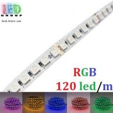 Светодиодная лента 12V, 5050, 120 led/m, 20W, IP20, RGB (16 млн. оттенков), Standart. Гарантия - 12 месяцев
