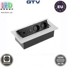 Удлинитель GTV, встраиваемый, 2 гнезда, 1 USB, 1 HDMI, сетевой разъем, без провода, алюминий, SCHUKO. ЕВРОПА!!! Гарантия - 1 год
