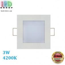 Светильник светодиодный 3W, 4200K, врезной, квадратный, белый