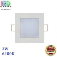 Светильник светодиодный 3W, 6400K, врезной, квадратный, белый