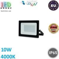 Светодиодный прожектор, master LED, 10W, 12xSMD 2835, 4000K, IP65, накладной, алюминий + закалённое стекло, чёрный, Tiga. ЕВРОПА!