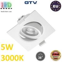 Светодиодный светильник GTV, 5W (ЕМС +), 3000К, квадратный, встраиваемый, VOLARE. ЕВРОПА!!! Гарантия - 2 года