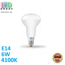 Светодиодная LED лампа, 6W, E14, R50, 4100K - нейтральное свечение, алюпласт, RA>90