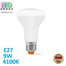 Светодиодная LED лампа 9W, E27, R63, 4100K - нейтральное свечение, алюпласт, RA>90
