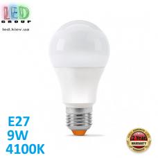 Светодиодная LED лампа 9W, E27, A60, 4100K - нейтральное свечение, алюпласт, RA>90