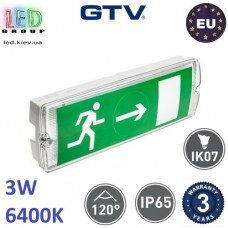 Аварийный светодиодный LED светильник GTV, 3W, 6400K, 300Lm, IP65, аккумулятор - на 3 часа, пластик, Ra≥80, SAHER LED DUO. ЕВРОПА!