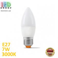 Светодиодная LED лампа 7W, E27, C37, 3000K - тёплое свечение, алюпласт, RA≥90