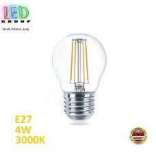 Светодиодная LED лампа 4W, E27, G45, 3000K - тёплое свечение, FILAMENT, Ra≥80