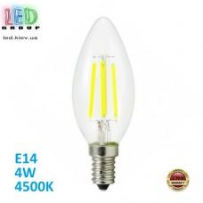 Светодиодная LED лампа 4W, E14, C37 - свеча, 4500K - нейтральный свет, FILAMENT, Ra>80