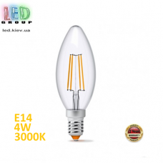 Светодиодная LED лампа 4W, E14, C37 - свеча, 3000K - тёплое свечение, FILAMENT, Ra>80