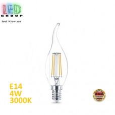 Светодиодная лампа 4W, E14, C35 - свеча на ветру, 3000K - тёплый свет, FILAMENT