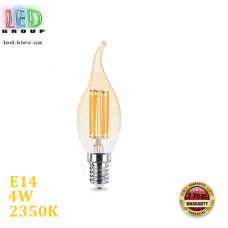Светодиодная LED лампа FILAMENT, 4W, E14, C35 - свеча на ветру, 2350K - тёплое свечение, Amber, Ra>80