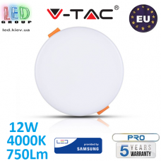 Светодиодная LED панель, V-TAC, 12W, 4000K, 750Lm, SAMSUNG CHIP, RA≥80. ЕВРОПА!!! Premium. Гарантия - 5 лет