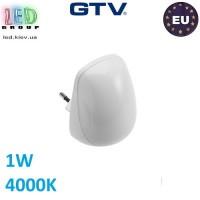 Светодиодный светильник GTV, 1W, 4000К, ночник в розетку, пластик, белый, ML3. ЕВРОПА!!!