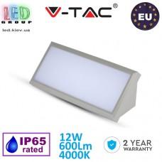 Светильник фасадный LED V-TAC 12W, 4000К, IP65, прямоугольный, серый. ЕВРОПА!!! Гарантия - 2 года