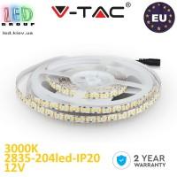 Светодиодная лента V-TAC, 12V, SMD 2835, 204 led/m, IP20, 1700Lm, белый тёплый 3000К, Premium, Европа! Гарантия - 2 года