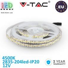 Светодиодная лента V-TAC, 12V, SMD 2835, 204 led/m, IP20, 1700Lm, белый нейтральний 4500К, Premium, Европа! Гарантия - 2 года