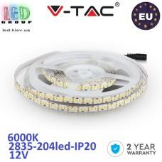 Светодиодная лента V-TAC, 12V, SMD 2835, 204 led/m, IP20, 1700Lm, белый холодный 6000К, Premium, Европа! Гарантия - 2 года