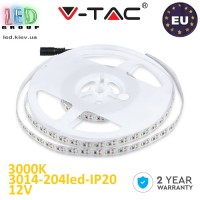 Светодиодная лента V-TAC, 12V, SMD 3014, 204 led/m, 18W, IP20, 1700Lm, 3000К-белый тёплый, Premium, Европа! Гарантия - 2 года.