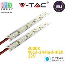 Светодиодная алюминиевая линейка V-TAC, 12V, 4014, 144 led/m, 18W, IP20, 3000K - белый тёплый, Premium, Европа! Гарантия - 2 года