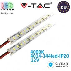 Светодиодная алюминиевая линейка V-TAC, 12V, 4014, 144 led/m, 18W, IP20, 4500K - белый нейтральный, Premium, Европа! Гарантия - 2 года