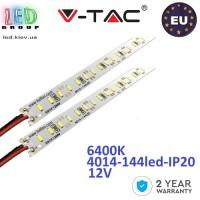 Светодиодная алюминиевая линейка V-TAC, 12V, 4014, 144 led/m, 18W, IP20, 6400K - белый холодный, Premium, Европа! Гарантия - 2 года