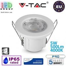 Точечный LED светильник V-TAC, 5W, 500Lm, 4000K, Ra≥80, SAMSUNG CHIP, врезной, противопожарный, белый. ЕВРОПА!!! Гарантия - 5 лет