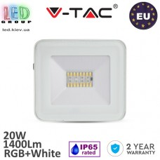 Светодиодный LED прожектор, V-TAC, 20W, RGB + White, 1440Lm, Bluetooth, IP65, белого цвета. ЕВРОПА!!! Гарантия - 2 года