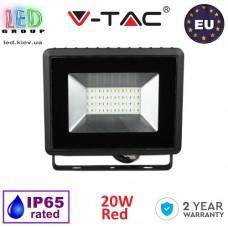 Светодиодный LED прожектор, V-TAC, 20W, цвет свечения - красный, IP65, чёрный корпус. ЕВРОПА!!! Гарантия - 2 года