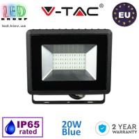 Светодиодный LED прожектор, V-TAC, 20W, цвет свечения - синий, IP65, чёрный корпус. ЕВРОПА!!! Гарантия - 2 года