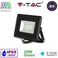 Светодиодный LED прожектор, V-TAC, 10W, цвет свечения - зелёный, IP65, чёрный корпус. ЕВРОПА!!! Гарантия - 2 года