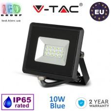Светодиодный LED прожектор V-TAC, 10W, цвет свечения - синий, IP65, чёрный корпус. ЕВРОПА!!! Гарантия - 2 года