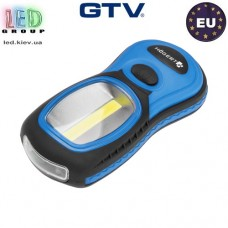 Фонарик светодиодный GTV 3W, 3xAAA 1.5V (без батареек), IP20, пластик, HOEGERT. ЕВРОПА!