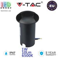 Тротуарно-грунтовой светодиодный LED светильник V-TAC, 1W, 12V, 6500К, двухсторонний, круглый, чёрный, алюминий + поликарбонат. ЕВРОПА!!! Гарантия - 2 года