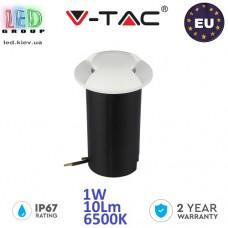Тротуарно-грунтовой светодиодный LED светильник V-TAC, 1W, 12V, 6500К, двухсторонний, круглый, белый, алюминий + поликарбонат. ЕВРОПА!!! Гарантия - 2 года