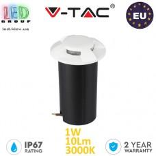 Тротуарно-грунтовой светодиодный LED светильник V-TAC, 1W, 12V, 3000К, четырёхсторонний, круглый, белый, алюминий + поликарбонат. ЕВРОПА!!! Гарантия - 2 года