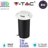 Тротуарно-грунтовой светодиодный LED светильник V-TAC, 1W, 12V, 6500К, четырёхсторонний, круглый, белый, алюминий + поликарбонат. ЕВРОПА!!! Гарантия - 2 года