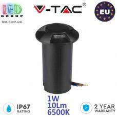 Тротуарно-грунтовой светодиодный LED светильник V-TAC, 1W, 12V, 6500К, четырёхсторонний, круглый, чёрный, алюминий + поликарбонат. ЕВРОПА!!! Гарантия - 2 года