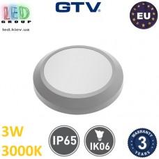 Светодиодный светильник лестничный GTV, 3W, 3000K, IP65, круглый, молочное стекло, SILVER OW. ЕВРОПА! Гарантия - 3 года!!!