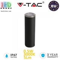 Тротуарно-грунтовой светодиодный LED светильник V-TAC 0.5W, 12V, 3000К, круглый, серебристый, поликарбонат. ЕВРОПА!!! Гарантия - 2 года
