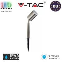 Светильник/корпус V-TAC, 1xGU10, IP44, грунтовой, круглый, нержавеющая сталь, серебристый,  GARDEN SPIKE. Европа!!! Гарантия - 2 года
