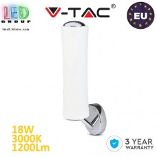 Светодиодный LED светильник V-TAC, 18W, настенный, дизайнерский, диммируемый, 3000К - тёплый свет, сталь + поликарбонат. ЕВРОПА!!! Гарантия - 3 года