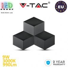 Светодиодный LED светильник V-TAC, 9W, 990Lm, 3000K - белый тёплый свет, 360°, Ra≥80, настенный, чёрный корпус. ЕВРОПА!!! Гарантия - 2 года