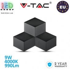 Светодиодный LED светильник V-TAC, 9W, 990Lm, 4000K - белый нейтральный свет, 360°, Ra≥80, настенный, чёрный корпус. ЕВРОПА!!! Гарантия - 2 года