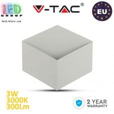 Светодиодный LED светильник V-TAC, 3W, 300Lm, 3000K - белый тёплый свет, 120°, Ra≥80, BRIDGELUX CHIP, настенный, белый корпус. ЕВРОПА!!! Гарантия - 2 года