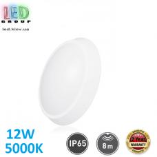 Настенный светодиодный светильник 12W, 5000K, IP65, с датчиком движения и датчиком освещённости, накладной, АВС + поликарбонат, овальный, белый, RA≥80