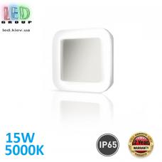 Настенный светодиодный светильник 15W, 5000K, IP65, накладной, ABS + поликарбонат, квадратный, белый, RA≥80