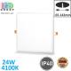Светодиодный светильник 24W, 4100K, IP40, врезной, с регулируемым креплением, безрамочный, алюминий + поликарбонат, квадратный, белый, RA≥80