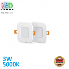 Светодиодный светильник 3W, 5000K, встроенный, алюминиевый, квадратный, белый, RA≥80, (в упаковке 2шт.)